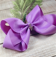 Purple 6 inch Clip-In Hair Bow with Rhinestone Cross Charm