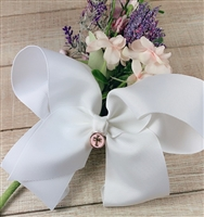 White Clip-In Hair Bow with Pink Enamel Cross Charm