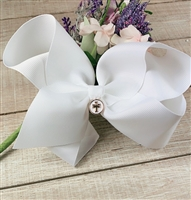 White Clip-In Hair Bow with White Enamel Cross Charm