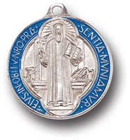 Saint Benedict Large Enamel Inlay Medal 1089