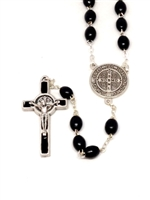 Saint Benedict Black Wood Bead Rosary 174BK