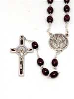 Saint Benedict Brown Wood Bead Rosary 174BN