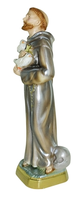 "St Francis of Assisi Italian Chalk Pearlized 12"" Statue"