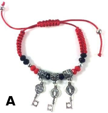 Red Cord Saint Benedict with Charms Bracelet
