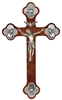 "12"" Walnut ""Trinity"" Crucifix, Antique Pewter Finish Corpus And"