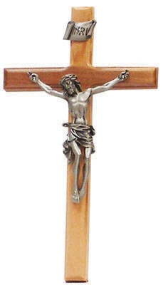 "8"" Beveled Edge Olive Wood Crucifix, 3.5"" Antique Pewter Finish Corpus"