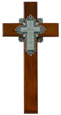 "10"" Cherry Holy Verse Cross, John 3:16 Pewter Plaque"