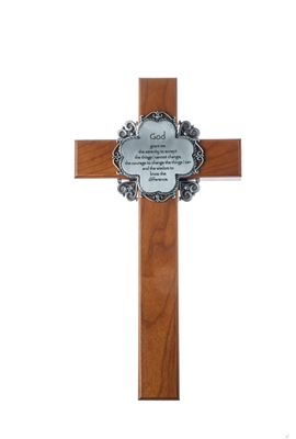 "10"" Cherry Holy Verse Cross, Serenity Prayer Pewter Plaque"