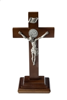 "9' Standing Walnut St. Benedict Crucifix, Two-Side Medallion, 3.5"" Pewter Finish Corpus"