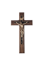 10' Walnut Crucifix, Overlay Cross With Golden Brown Floral Epoxy Antique Gold Finish Corpus