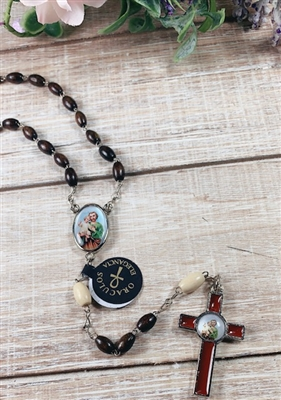 Saint Joseph Brown Wood Bead Rosary