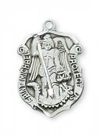 St. Michael Medal - Patron of POLICE -  Sterling Silver or Gold Shield