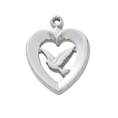 Sterling Silver Heart with Dove Medal