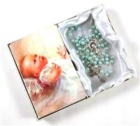 Baby Boy/Girl Baptismal  Rosary & Prayer Card Set