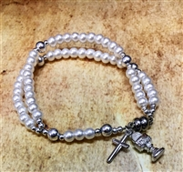 First Communion Clear Glass Bead Bracelet