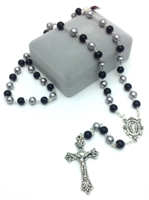 Silver and Black Glass Bead Rosary