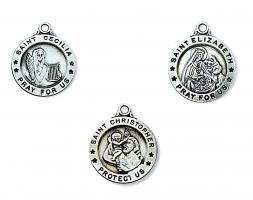Sterling Silver or Gold over Sterling Silver 1.6 cm Round Patron Saint Medals