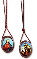 Large Wood Oval Scapular