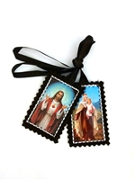 Cloth Sacred Heart and Our Lady of Mt. Carmel Brown Scapular