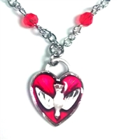 Sterling Silver Confirmation Heart Necklace with Red Glass Beads