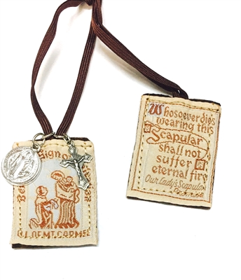 Our Lady of Mt. Carmel Brown Scapular with St Benedict medal and a Crucifix PL870BRBE