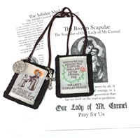 100% Wool Brown Colored Scapular With Medals and Pamphlet  PL876BE