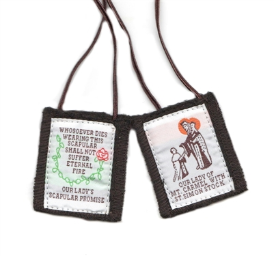 Our Lady of Mt. Carmel Colored Brown 100% Wool Scapular without Medals