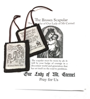 100% WOOL BROWN SCAPULAR with PAMPHLET PL877