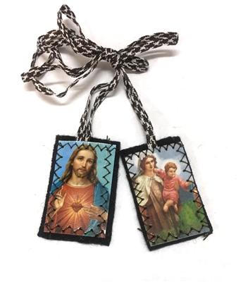 H-1 Sacred Heart of Jesus and Our Lady Brown Scapular with Brown/White Cord PL909