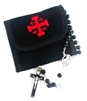Jerusalem Cross Velcro Rosary or Coin Pouch