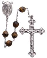 "20"" Chain-link Rosary with 6mm Tiger Eye Beads R1256"