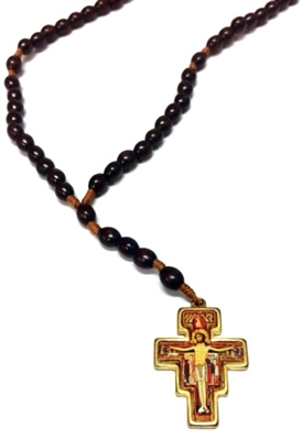 Italian Made San Damiano Cord Wood Bead Rosary  R96SD