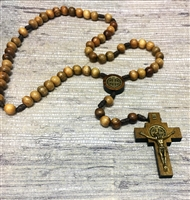 Saint Benedict Brown Wood Bead Cord Wood Rosary