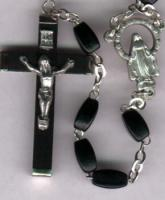 Rectangular Wood Bead Rosary