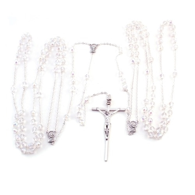 10mm Crystall Silver Lasso Rosary 26-181