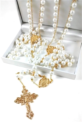 10mm Pearl Gold Lasso Rosary 26-600