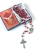 Confirmation Red Rosary and Holy Card Set