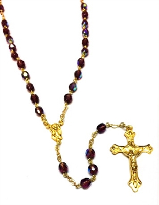 February Birthstone Bead Gold Rosary