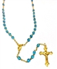 March Birthstone Bead Gold Rosary