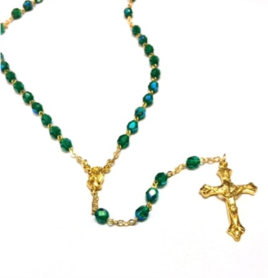 May Birthstone Bead Gold Rosary