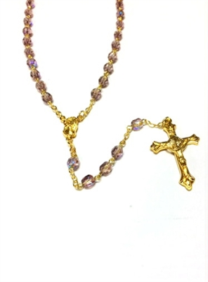 June Birthstone Bead Gold Rosary