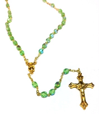 August Birthstone Bead Gold Rosary