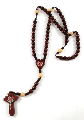 Brown Saint Jude and Our Lady of Guadalupe Round Wood Bead Cord Rosary