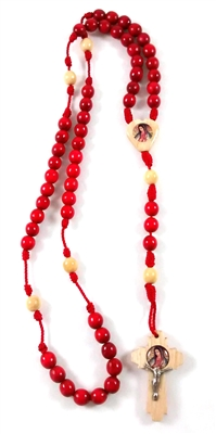 Red Our Lady of Guadalupe Round Wood Bead Cord Rosary