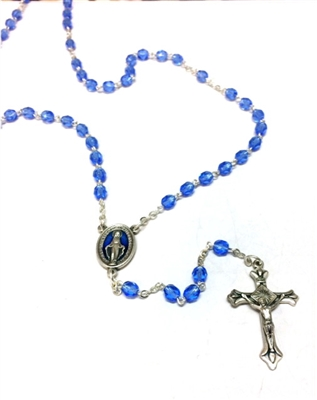 Blue Crystal Bead Rosary with Blue Enamel Miraculous Center-Piece
