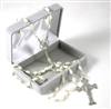 Exquisite Petite Mother of Pearl Rosary with Silver Plated Crucifix and Center