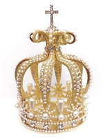 Medium Size Pearl Rhinestone Gold Crown For Statue