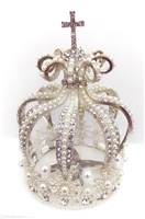 Small Rhinestone Pearl Silver Crown For Statue