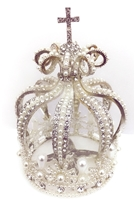 Medium Size Rhinestone Pearl Silver Crown For Statue