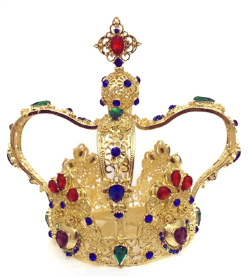 Large Multi-Color Rhinestone Gold Crown For Statue